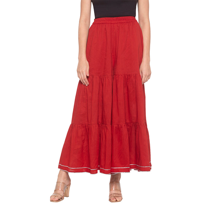 Red Solid Sharara Pants-1