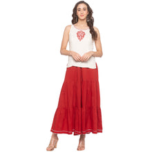 Load image into Gallery viewer, Red Solid Sharara Pants-4