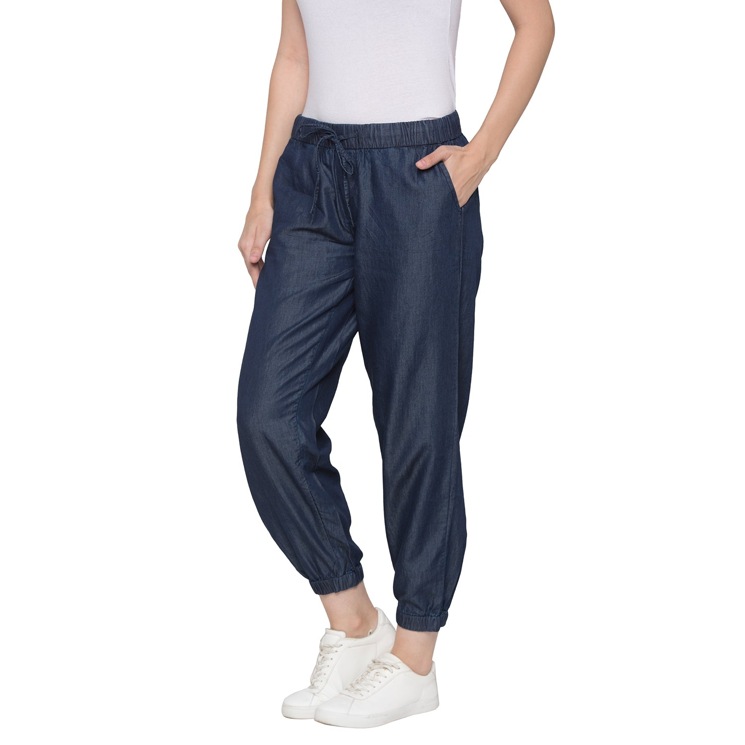Globus Blue Solid Joggers-2