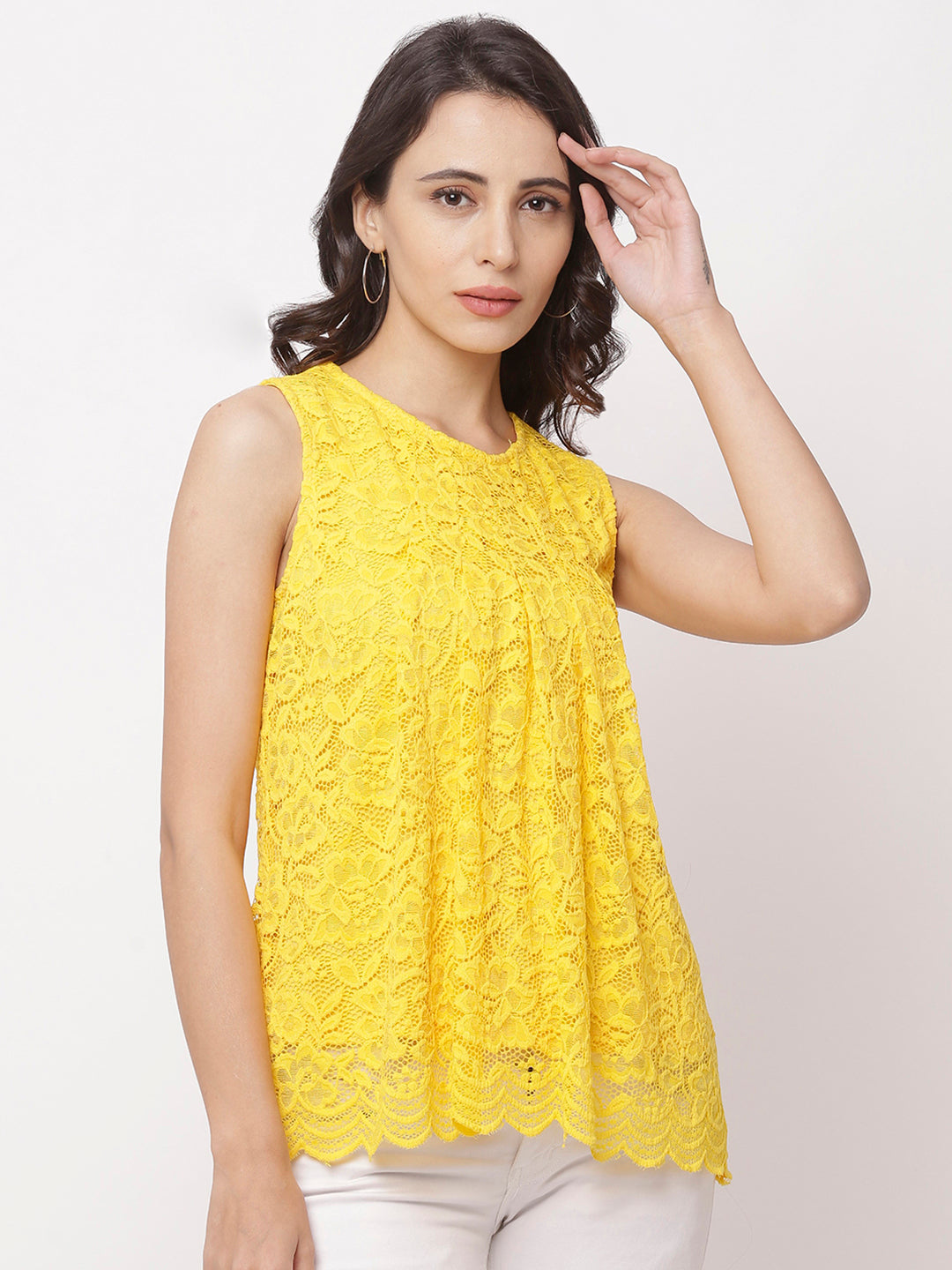 Globus Yellow Round Neck Self Design Top-1