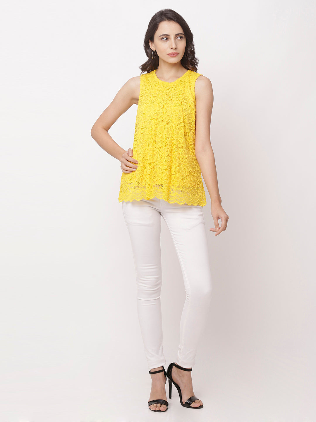 Globus Yellow Round Neck Self Design Top-5
