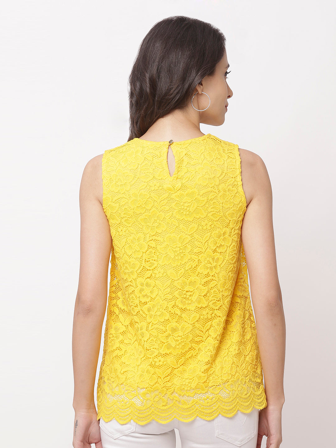 Globus Yellow Round Neck Self Design Top-3