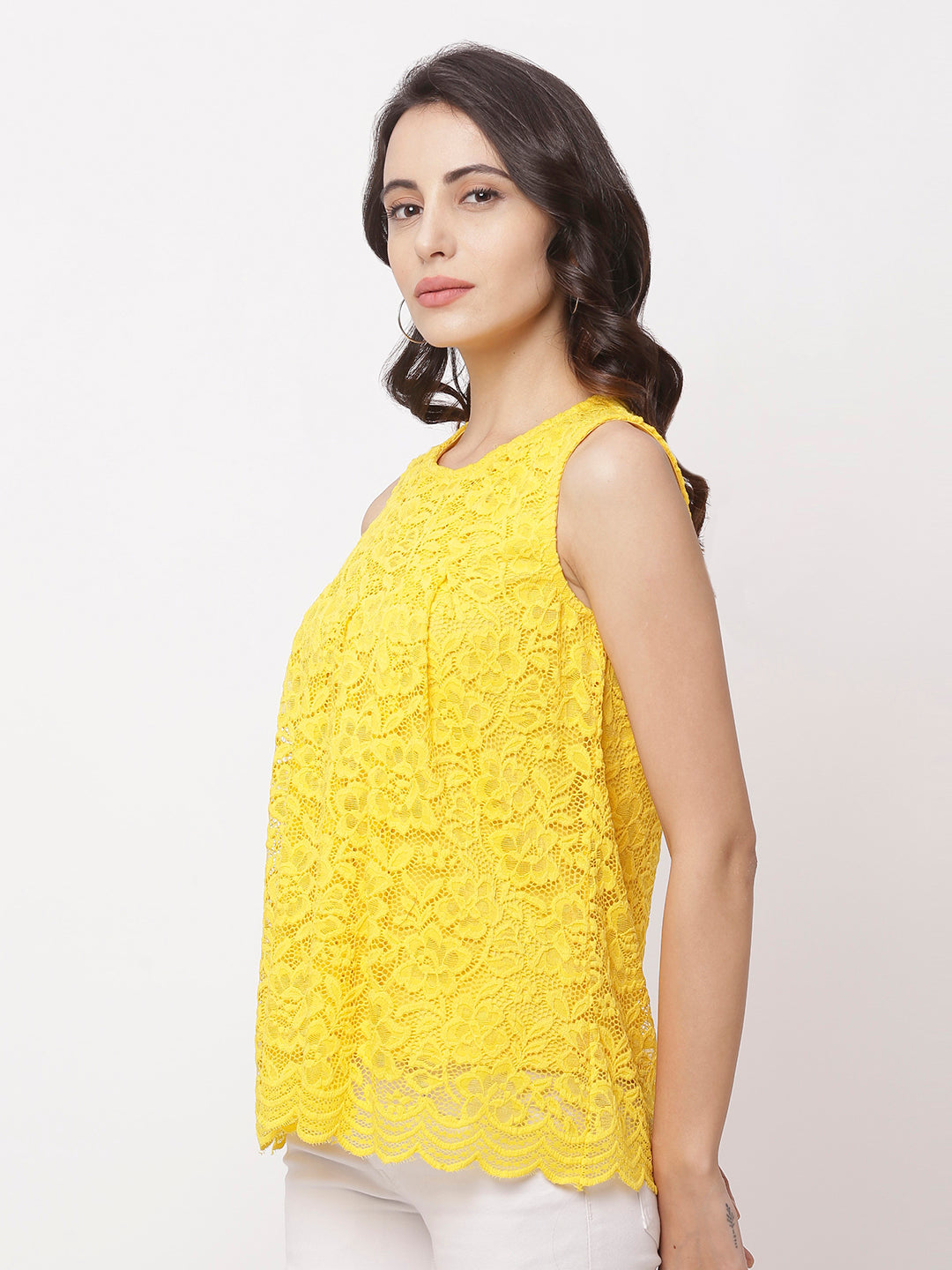 Globus Yellow Round Neck Self Design Top-2
