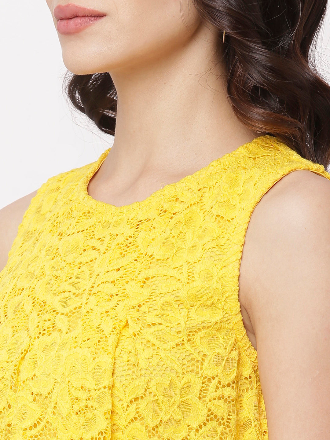 Globus Yellow Round Neck Self Design Top-4