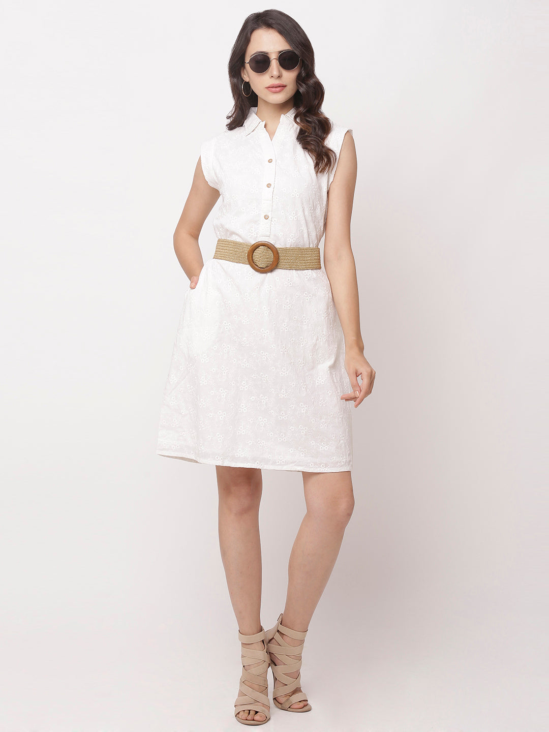 Globus White Self Design Casual Dress-1