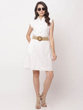 Load image into Gallery viewer, Globus White Self Design Casual Dress-1