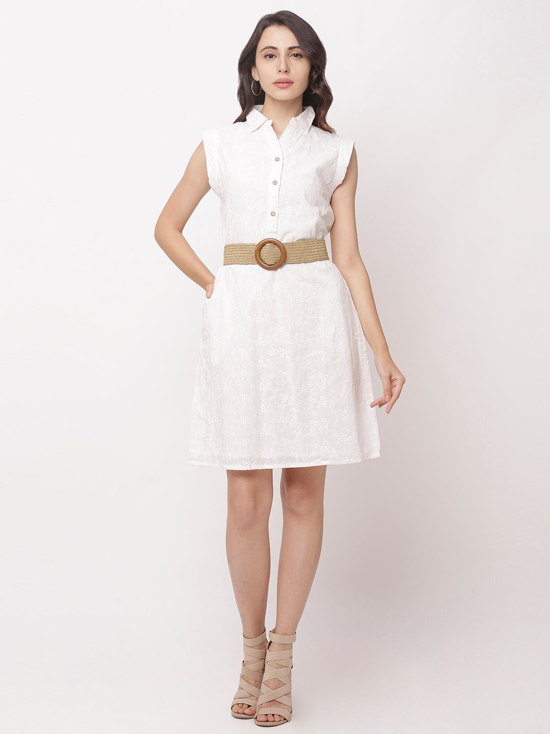 Globus White Self Design Casual Dress-5