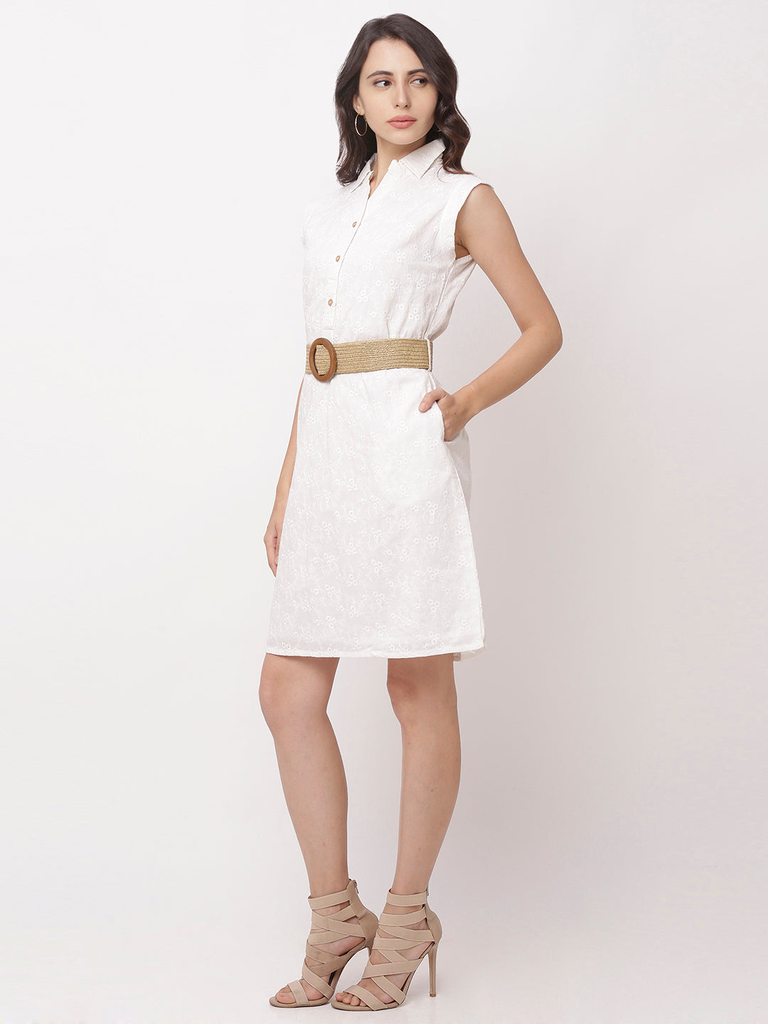 Globus White Self Design Casual Dress-2