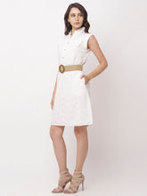 Load image into Gallery viewer, Globus White Self Design Casual Dress-2