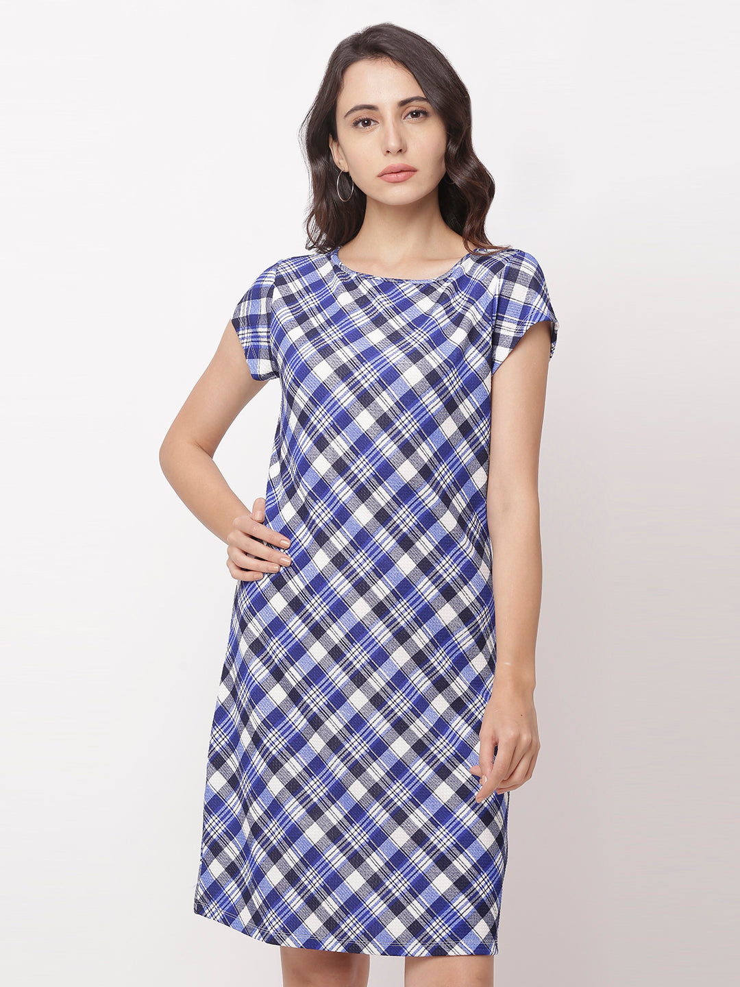 Globus Navy Blue Checked Casual Dress-1