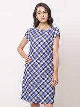 Load image into Gallery viewer, Globus Navy Blue Checked Casual Dress-1