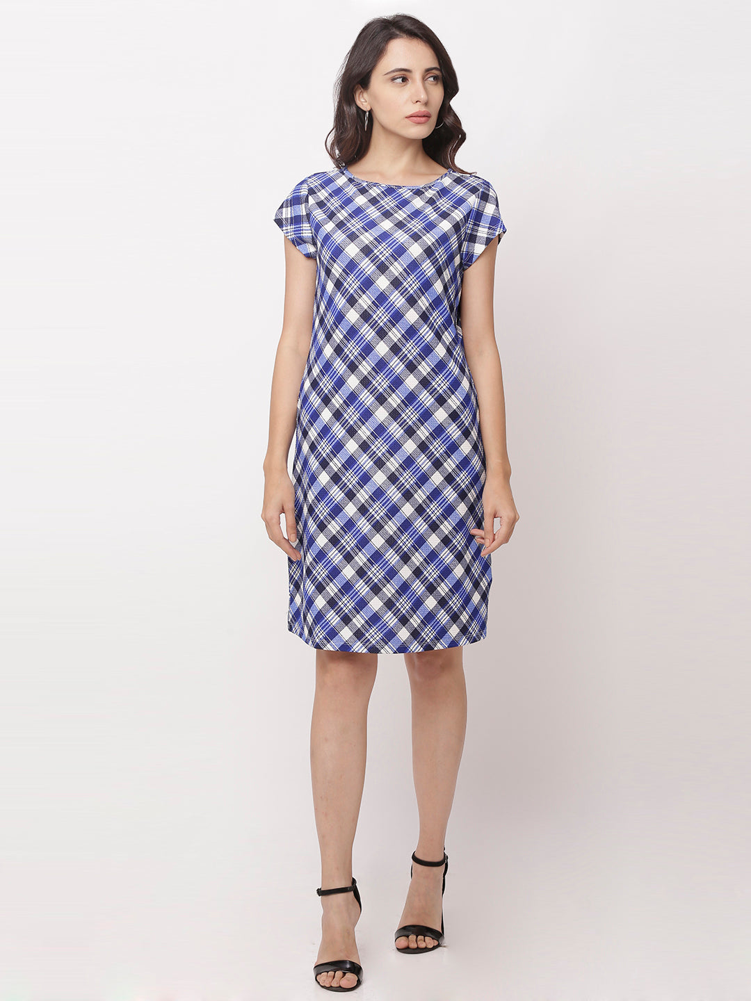 Globus Navy Blue Checked Casual Dress-5