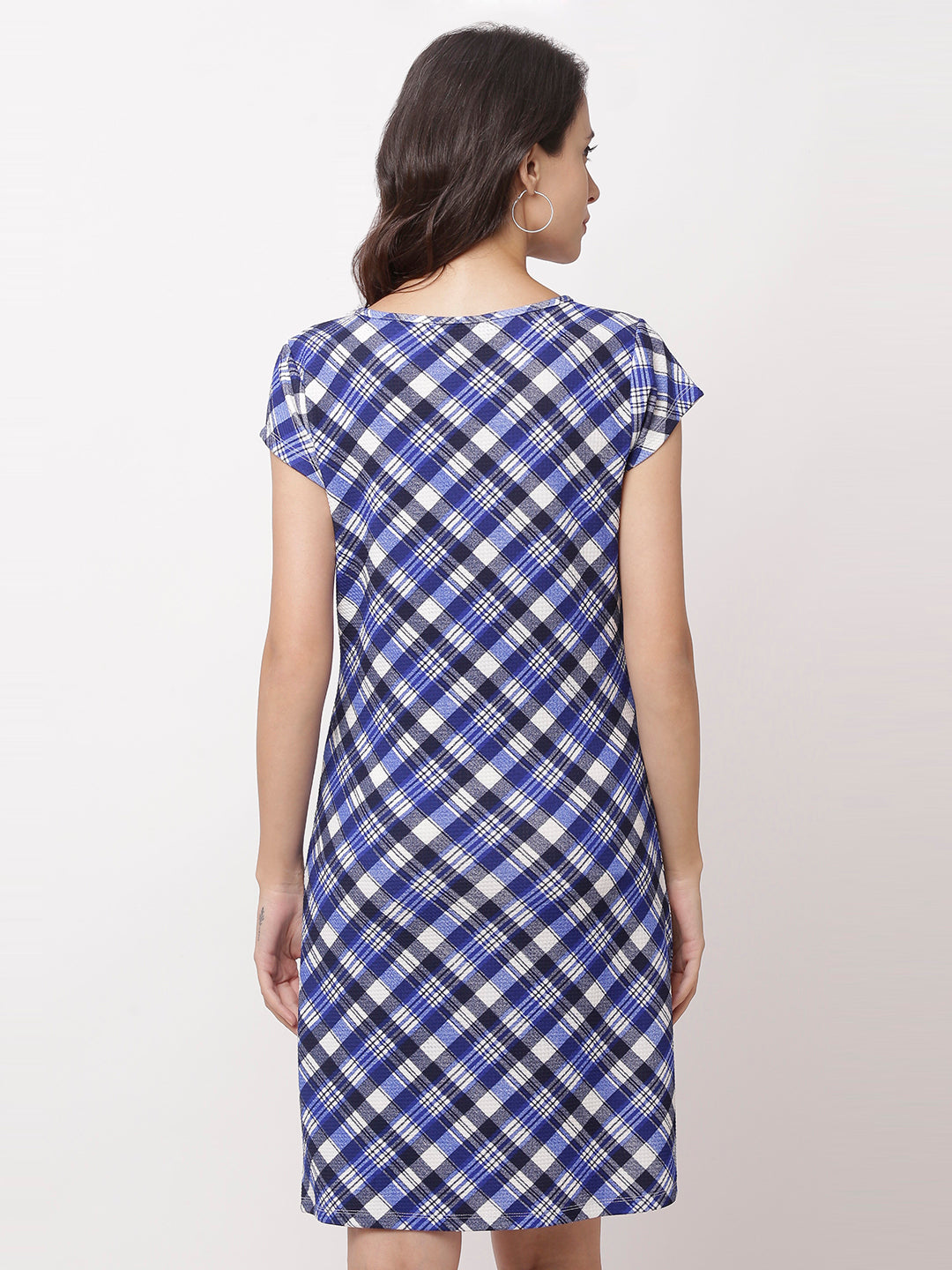 Globus Navy Blue Checked Casual Dress-3