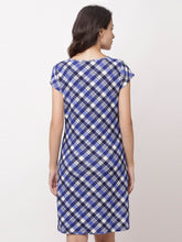 Load image into Gallery viewer, Globus Navy Blue Checked Casual Dress-3