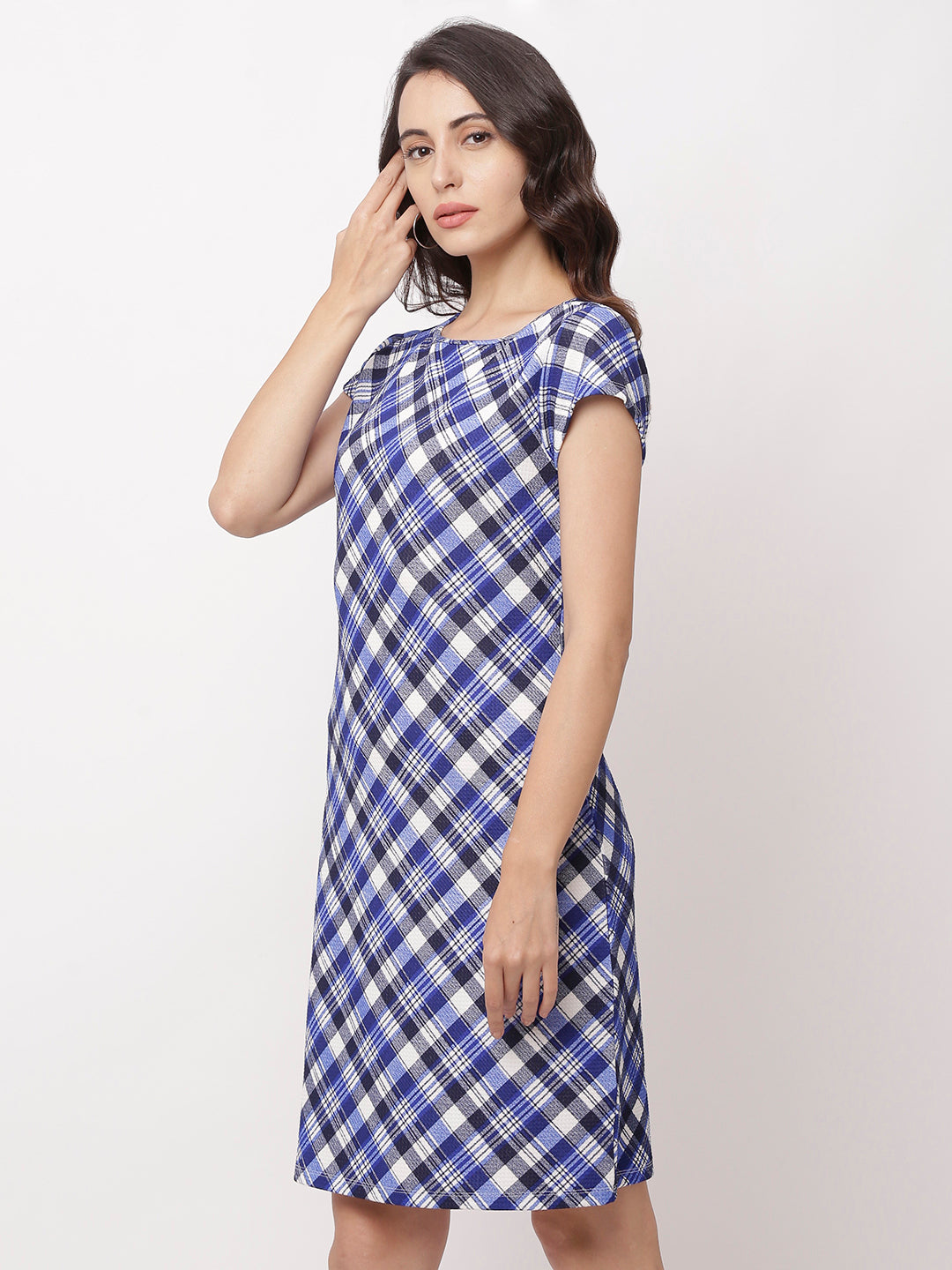 Globus Navy Blue Checked Casual Dress-2