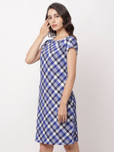 Load image into Gallery viewer, Globus Navy Blue Checked Casual Dress-2