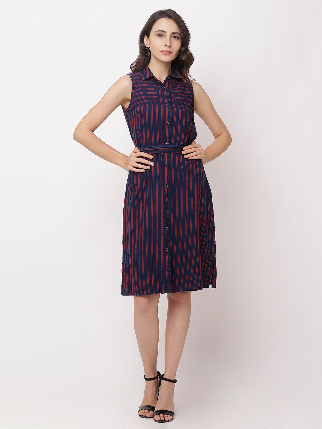 Globus Navy Blue Striped Casual Dress-5