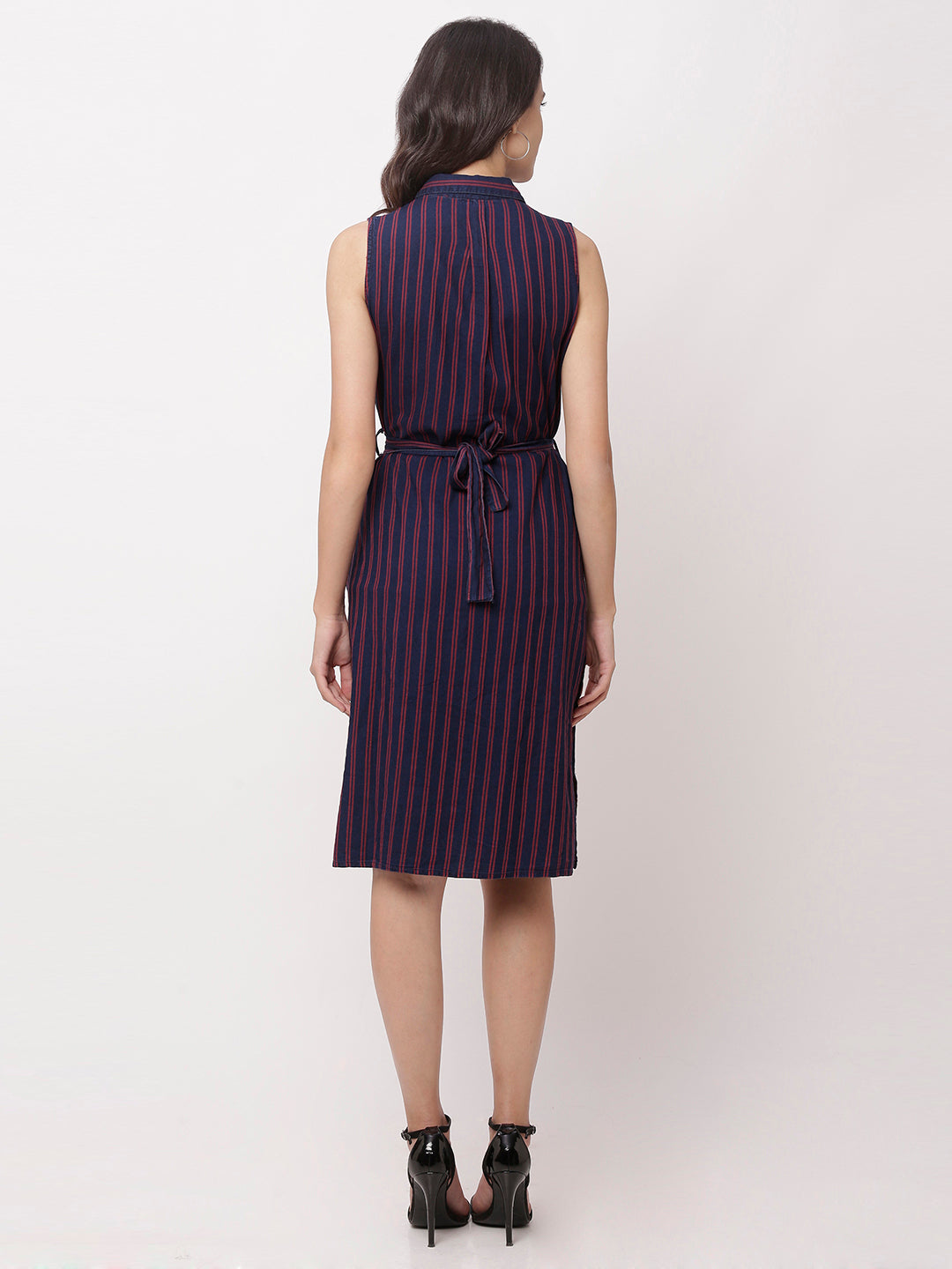 Globus Navy Blue Striped Casual Dress-3