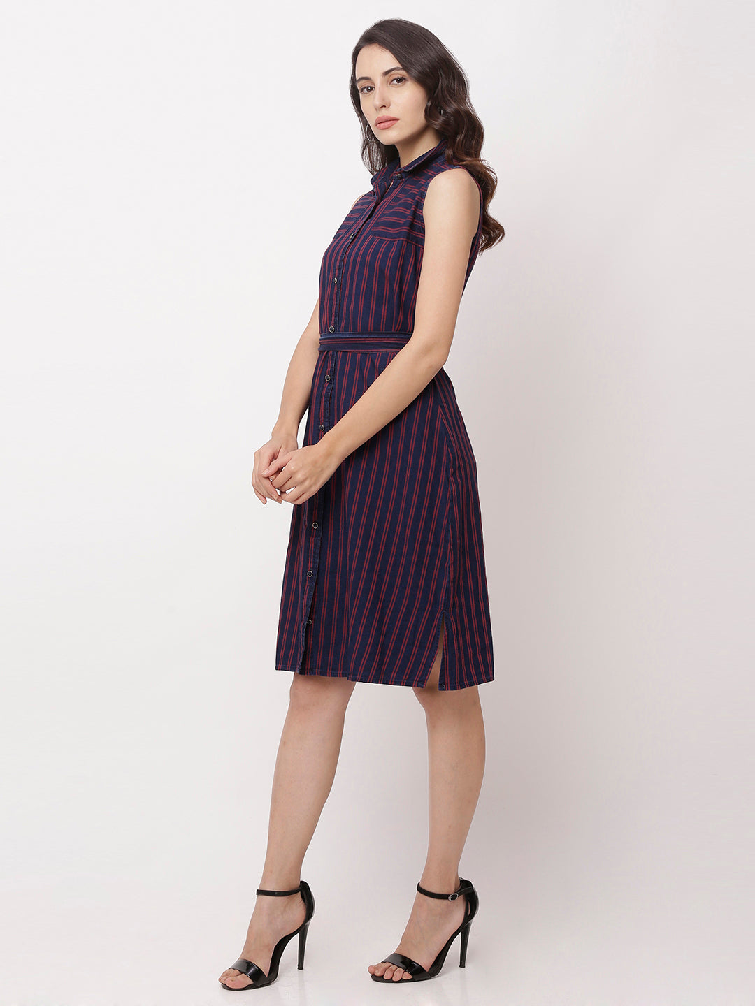 Globus Navy Blue Striped Casual Dress-2