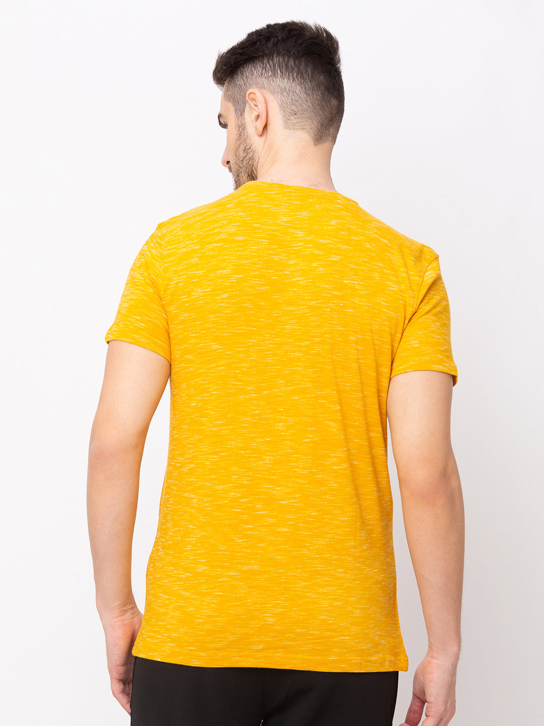 Globus Yellow Solid T-Shirt-3