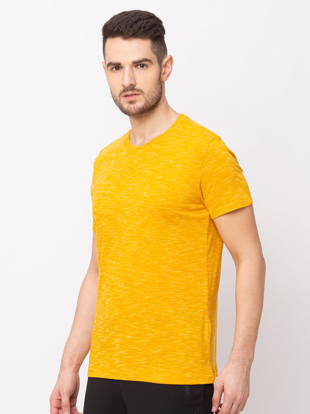 Globus Yellow Solid T-Shirt-2