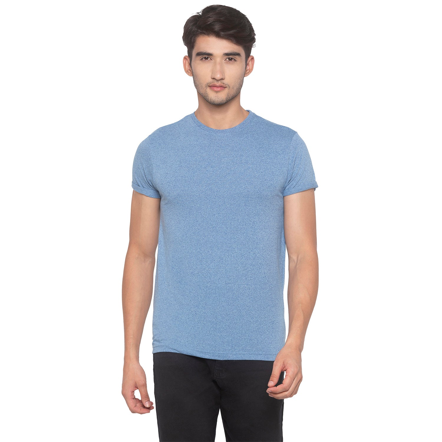 Indigo Blue Solid T-Shirt-1