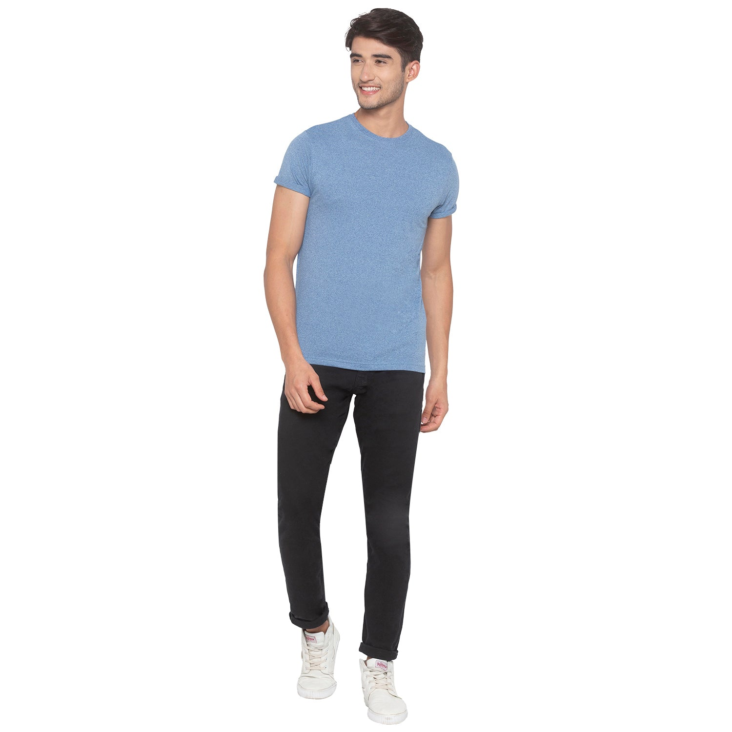 Indigo Blue Solid T-Shirt-4