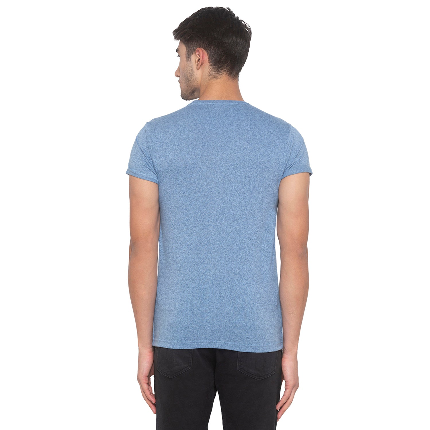 Indigo Blue Solid T-Shirt-3