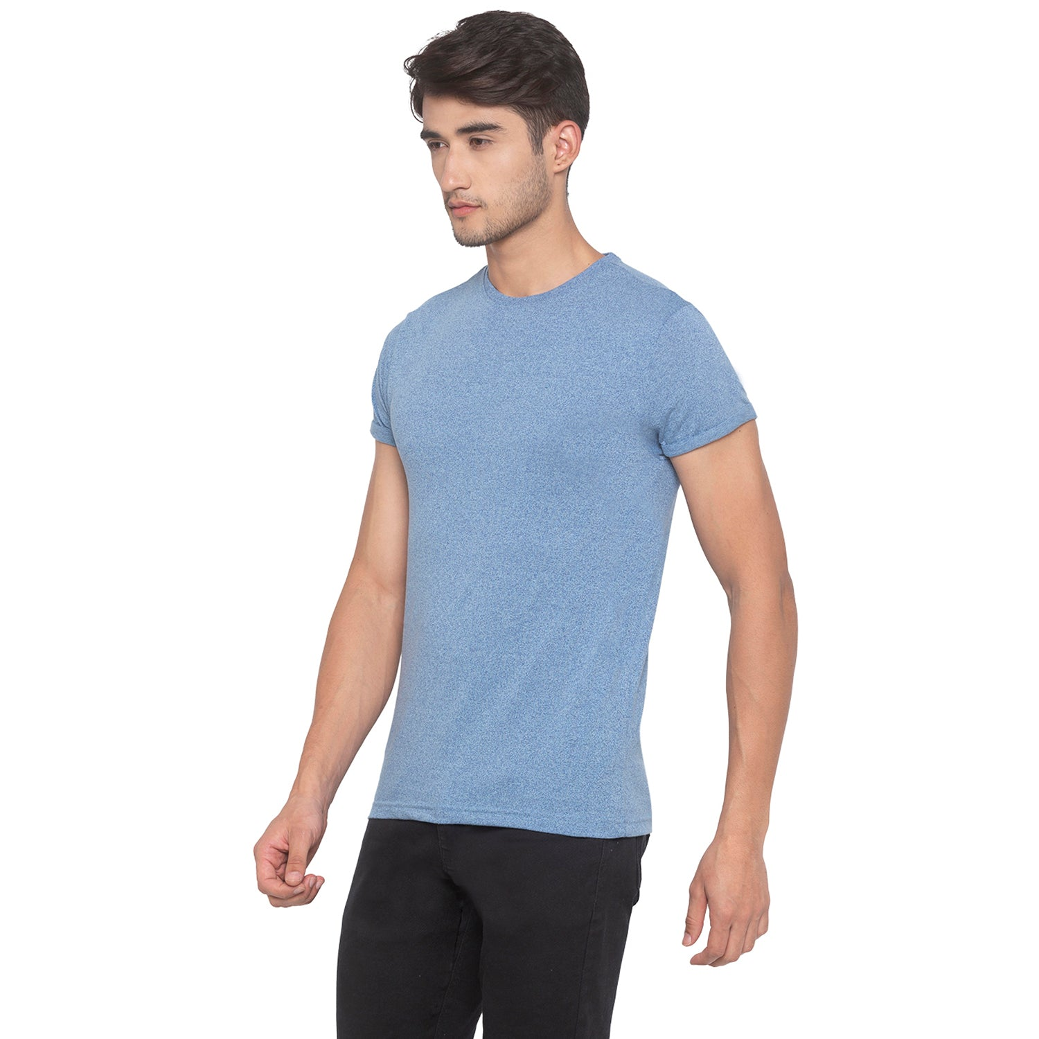 Indigo Blue Solid T-Shirt-2
