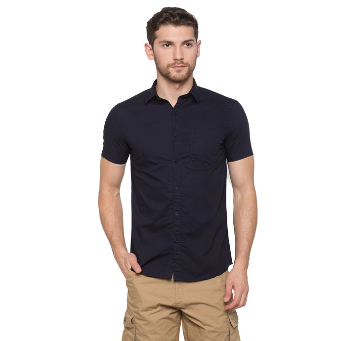 Globus Navy Blue Solid Shirt1