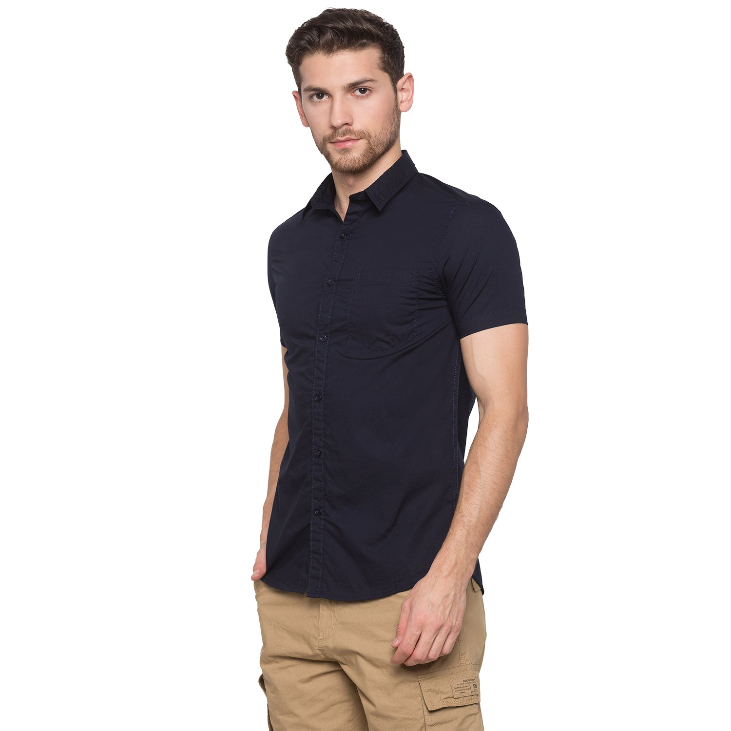 Globus Navy Blue Solid Shirt2