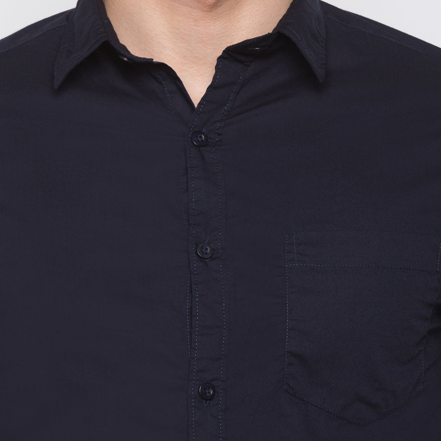 Globus Navy Blue Solid Shirt5