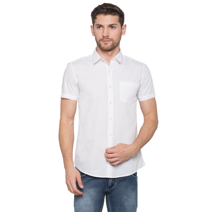 Globus White Solid Shirt1