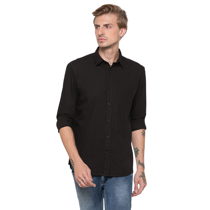 Globus Black Solid Shirt-1