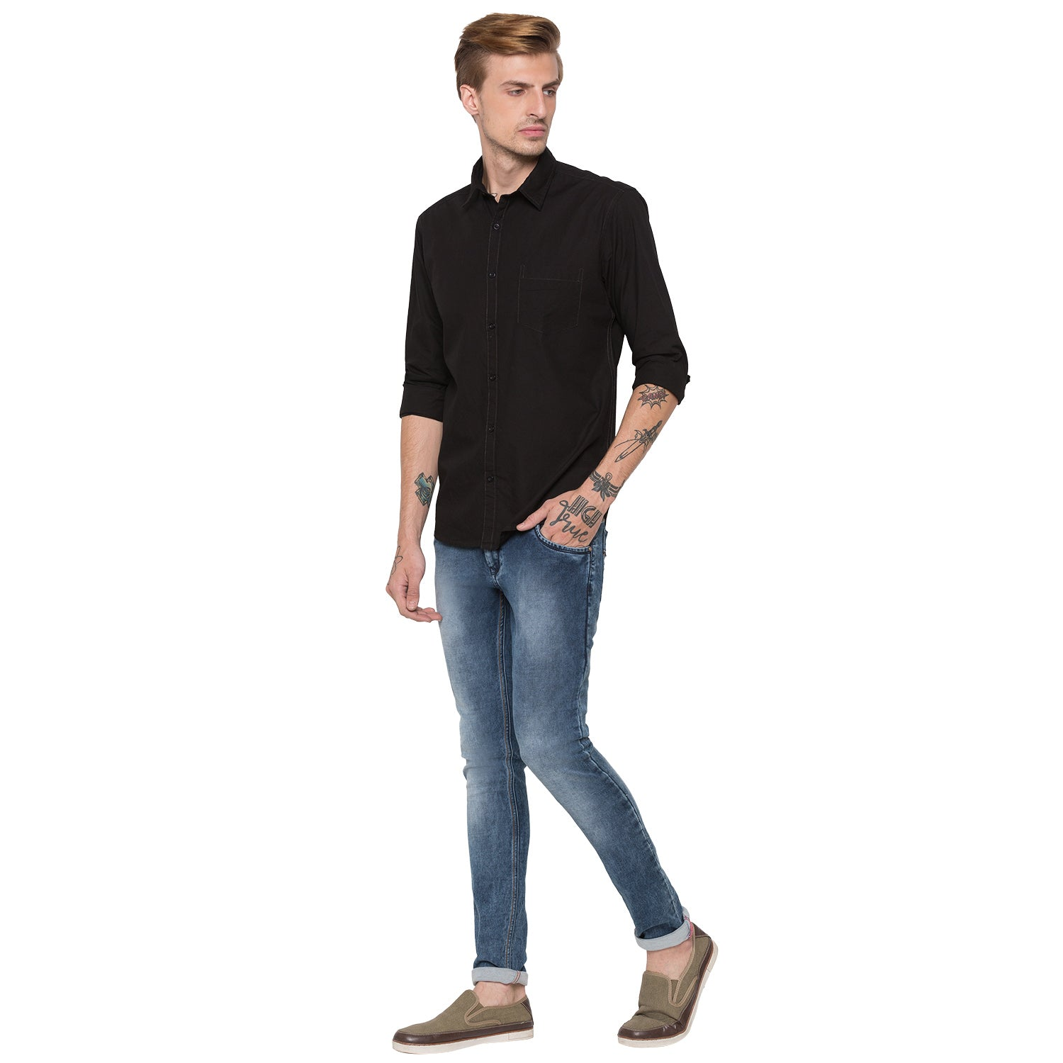 Globus Black Solid Shirt-4