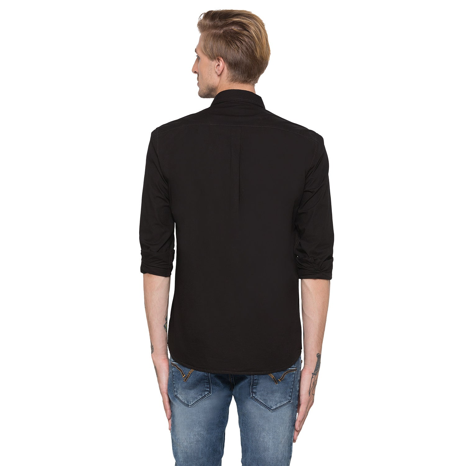 Globus Black Solid Shirt-3