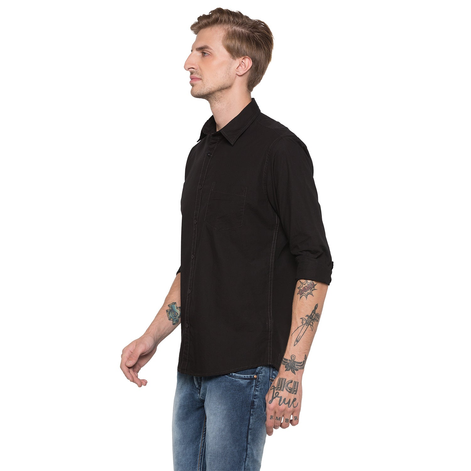 Globus Black Solid Shirt-2