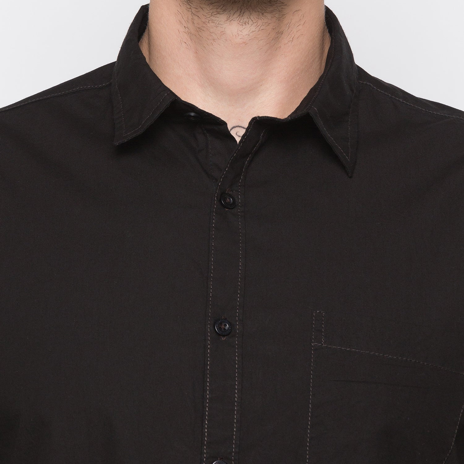 Globus Black Solid Shirt-5