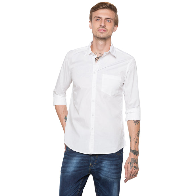 Globus White Solid Shirt-1