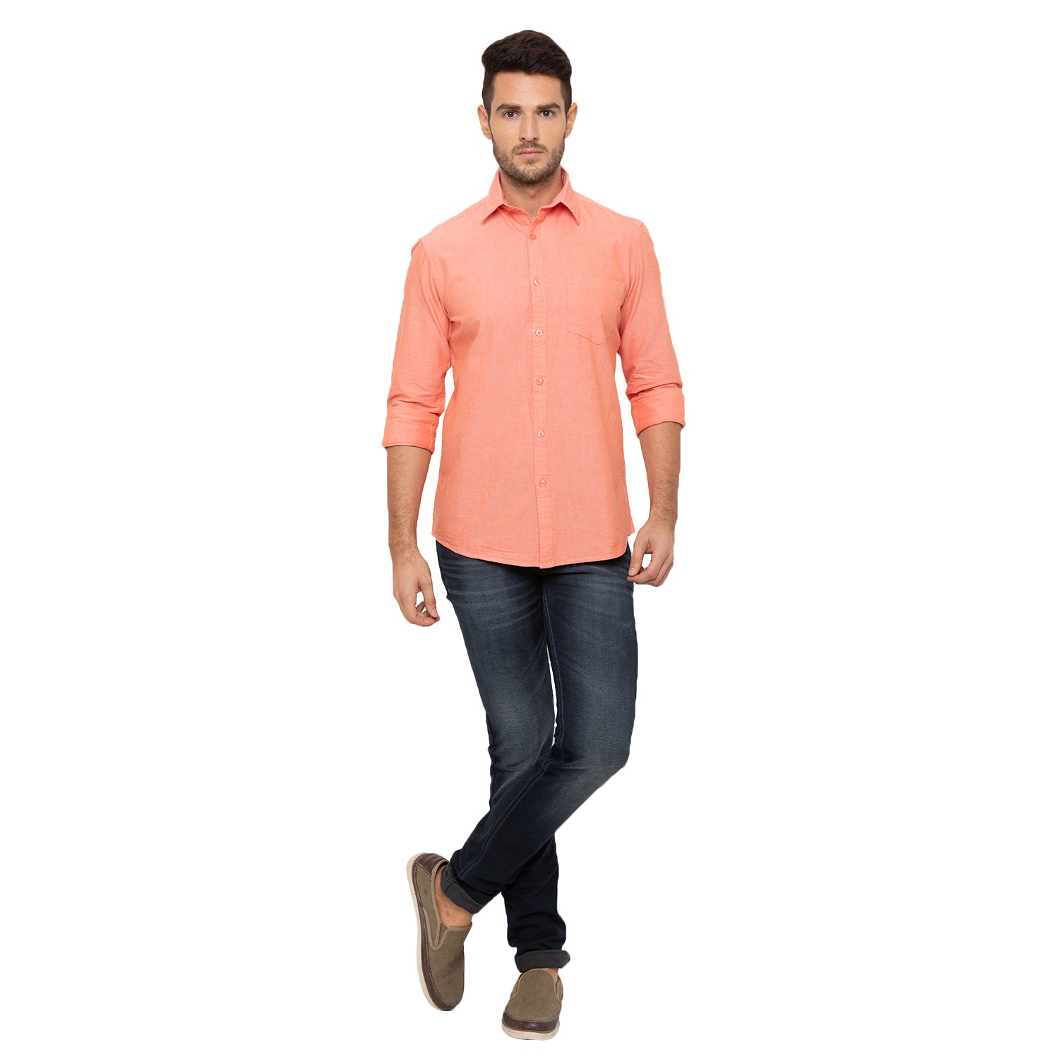 Globus Peach Solid Shirt-4