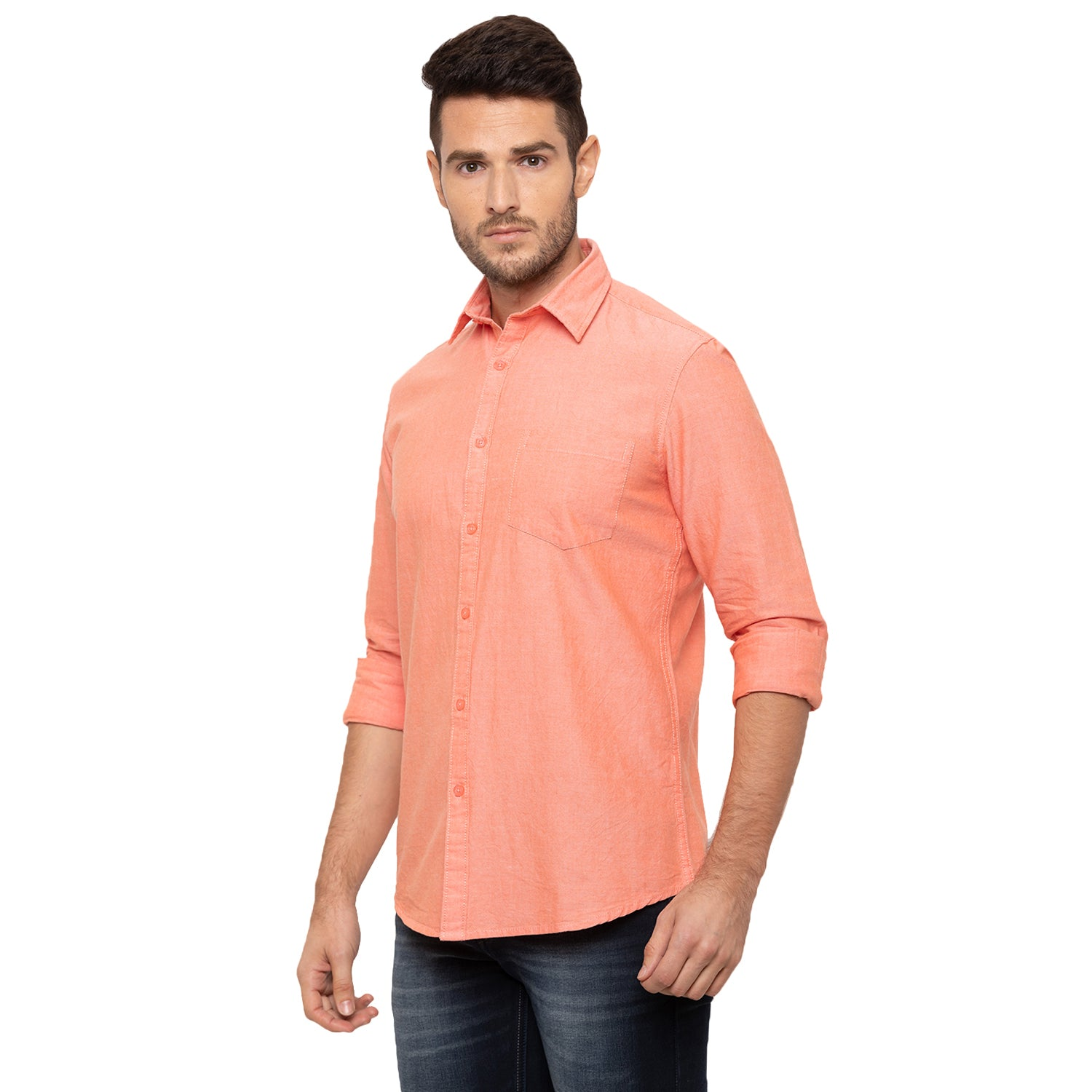 Globus Peach Solid Shirt-2