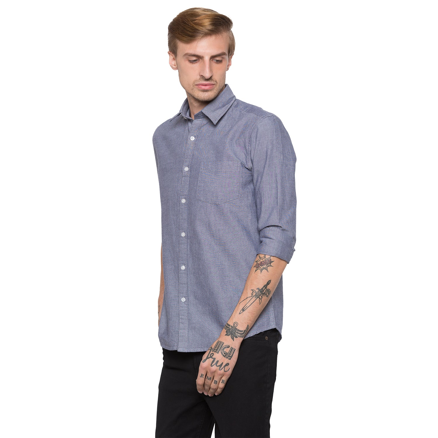 Globus Blue Solid Shirt-2