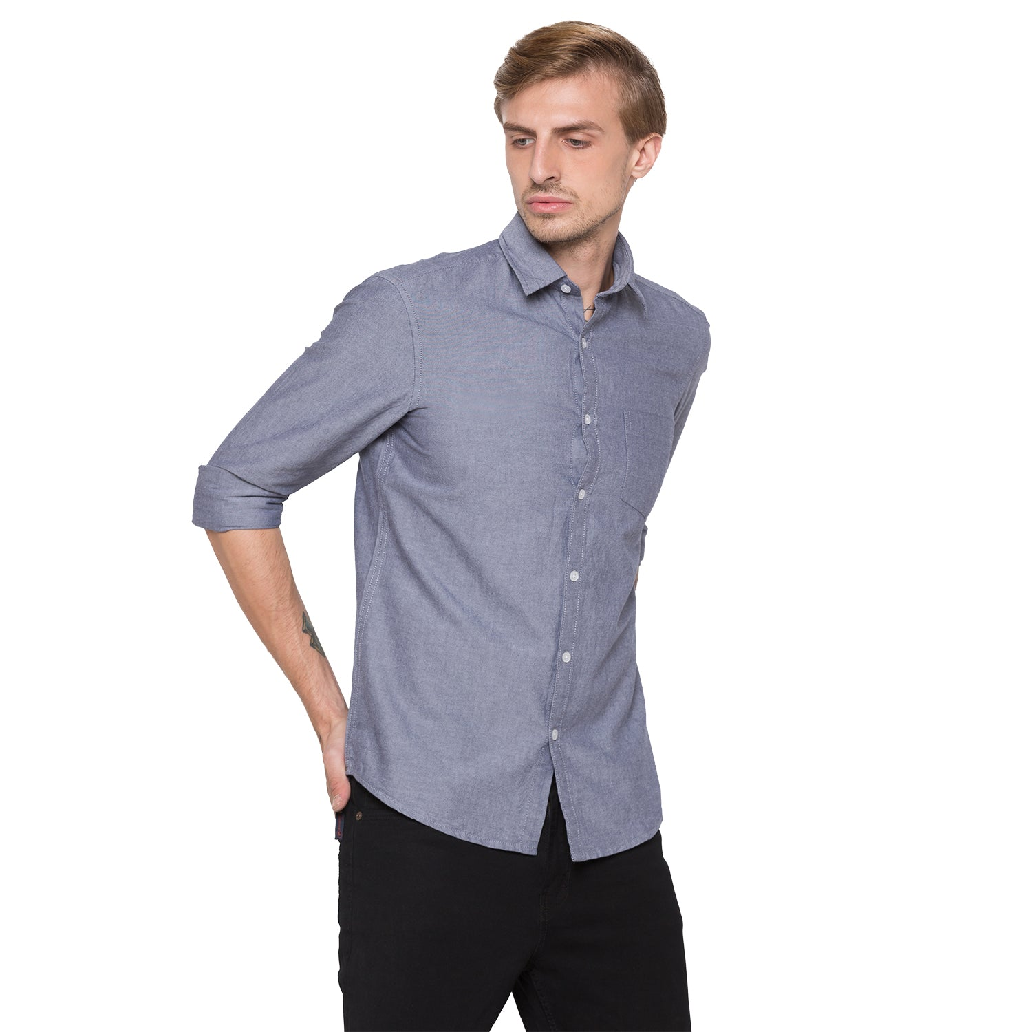 Globus Blue Solid Shirt-1