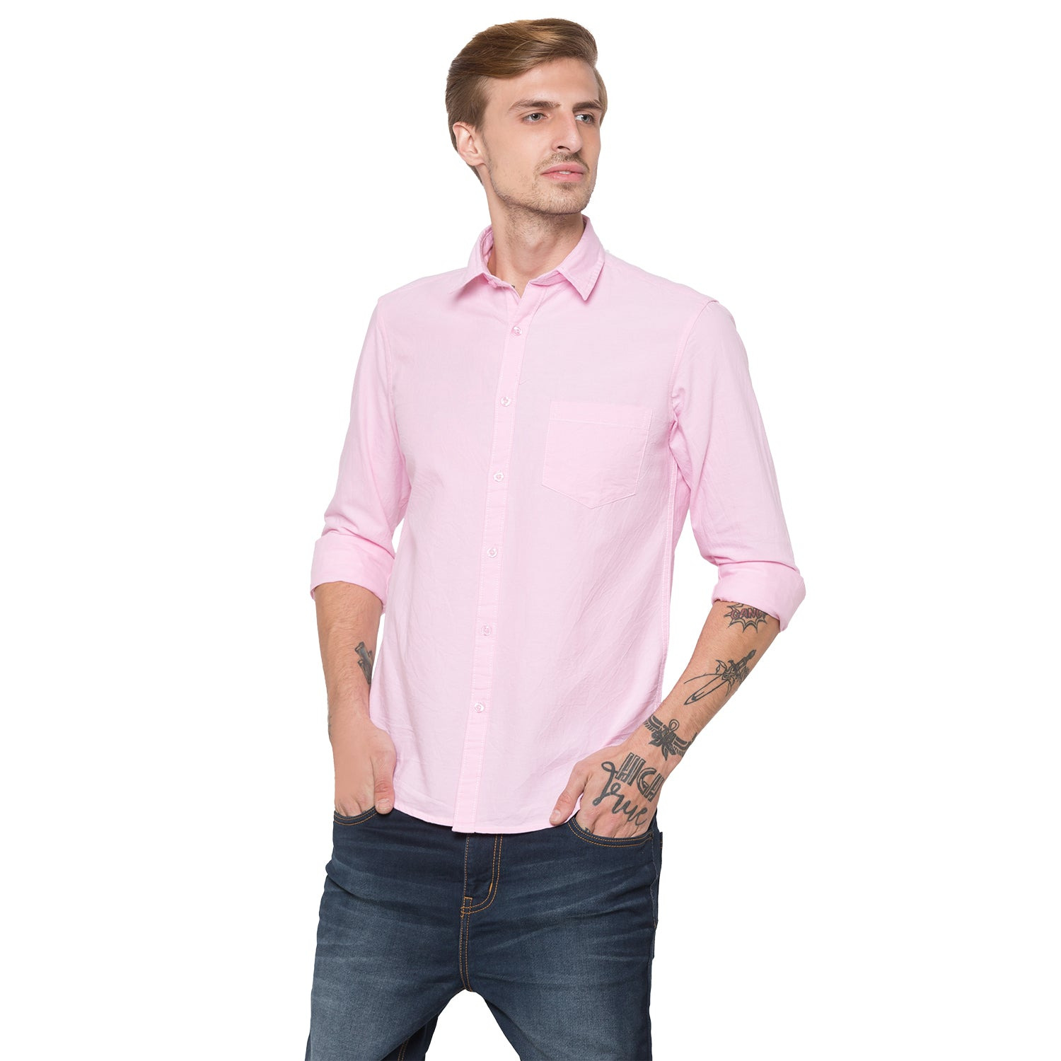 Globus Pink Solid Shirt-1