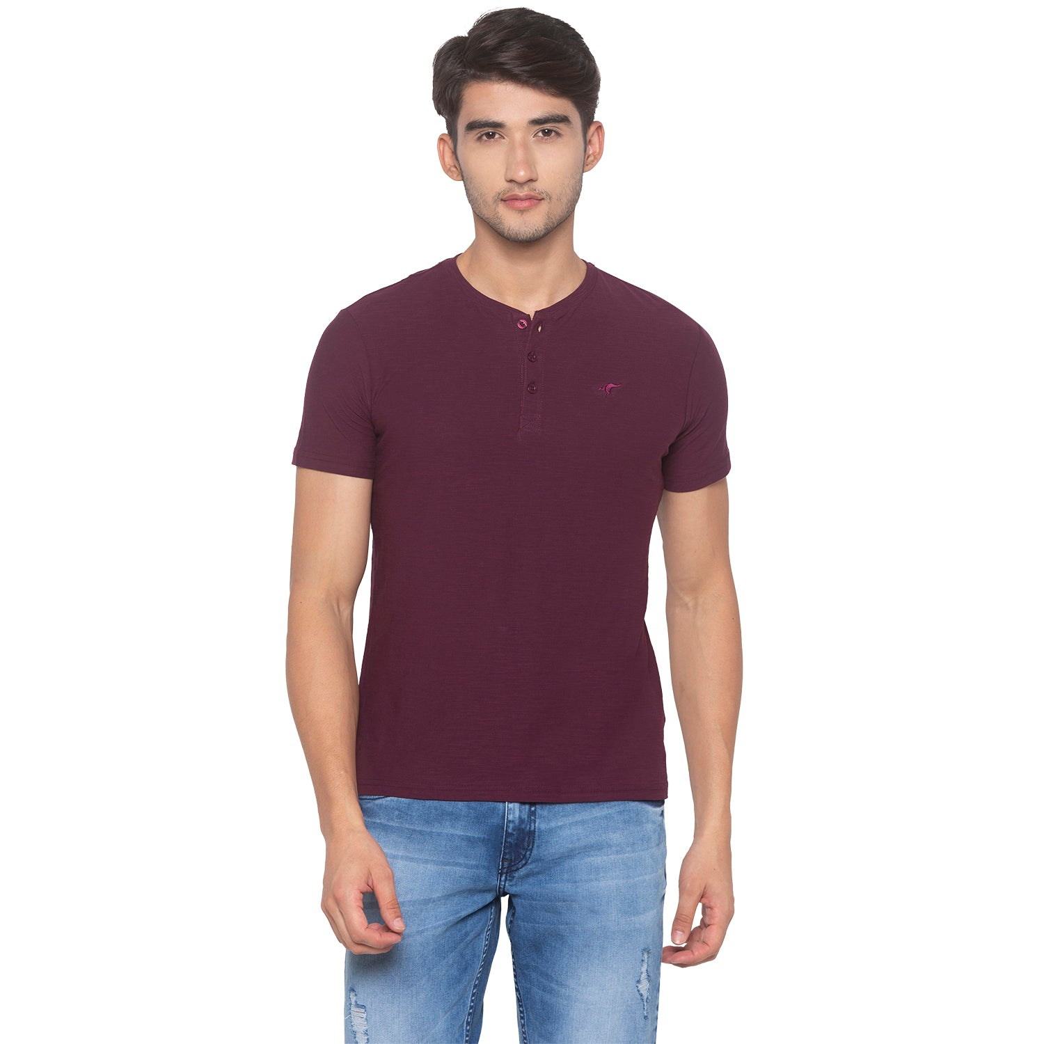 Wine Solid T-Shirt-1