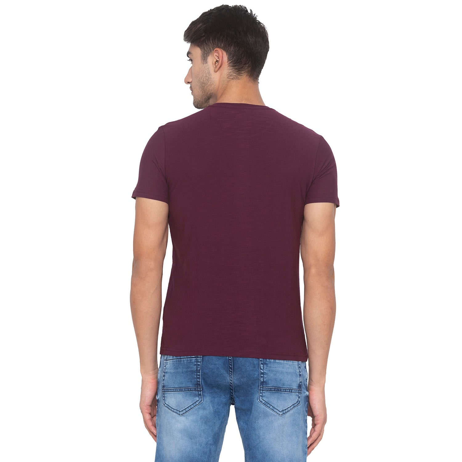 Wine Solid T-Shirt-3