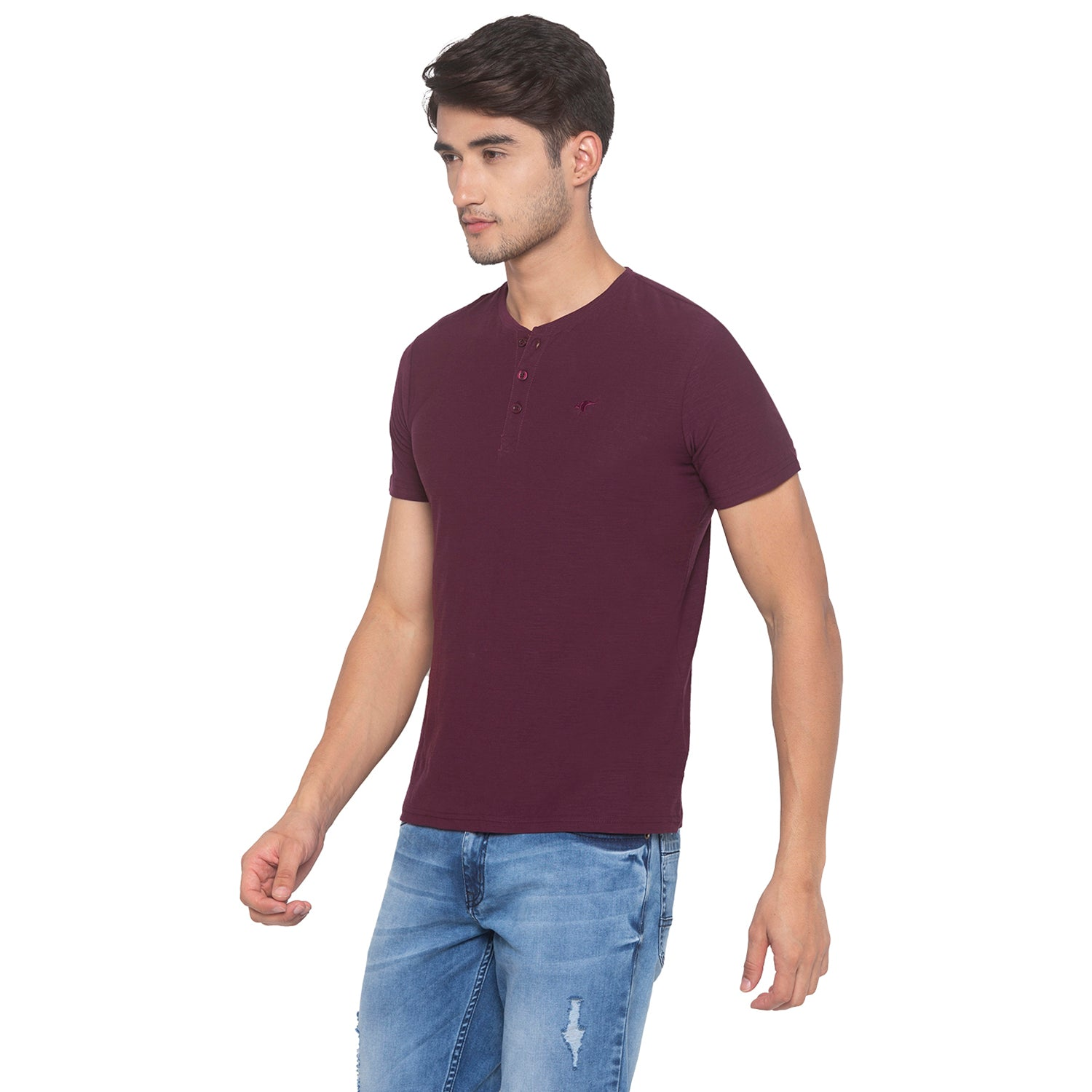Wine Solid T-Shirt-2