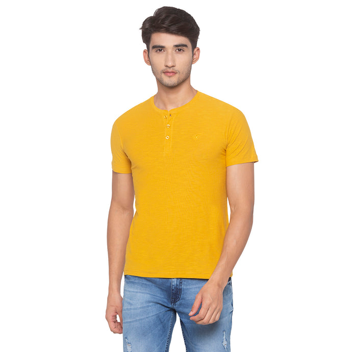 Yellow Solid T-Shirt-1