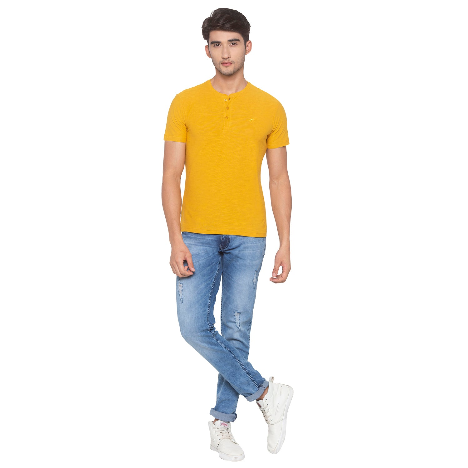 Yellow Solid T-Shirt-4
