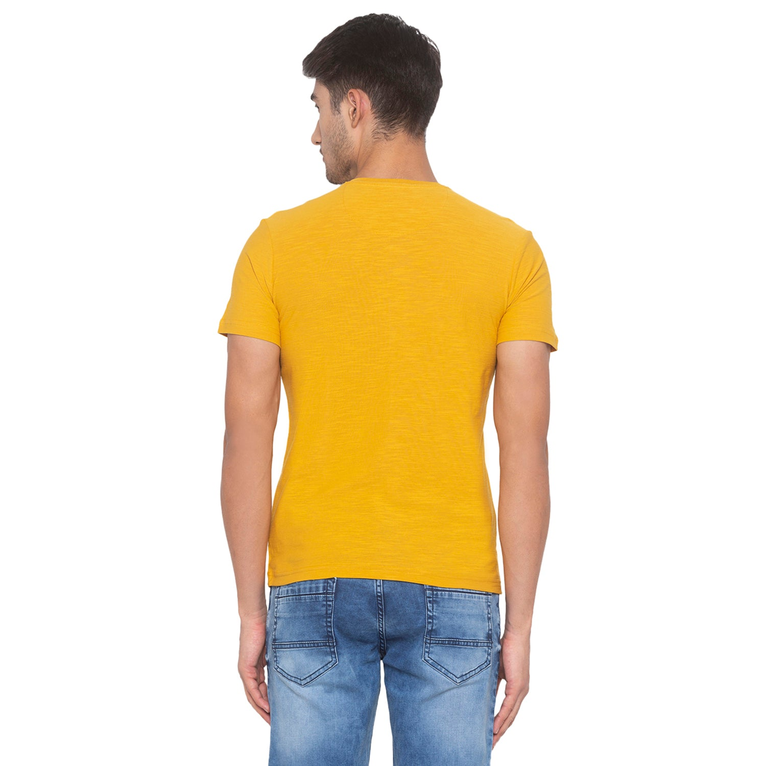 Yellow Solid T-Shirt-3